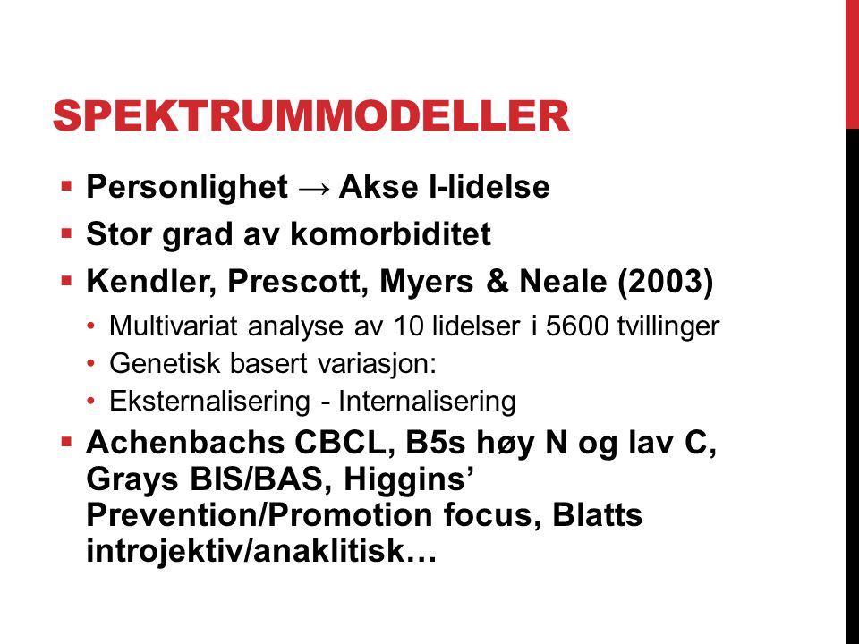 SPEKTRUMMODELLER  Personlighet → Akse I-lidelse  Stor grad av komorbiditet  Kendler, Prescott, Myers & Neale (2003) Multivariat analyse av 10 lidel