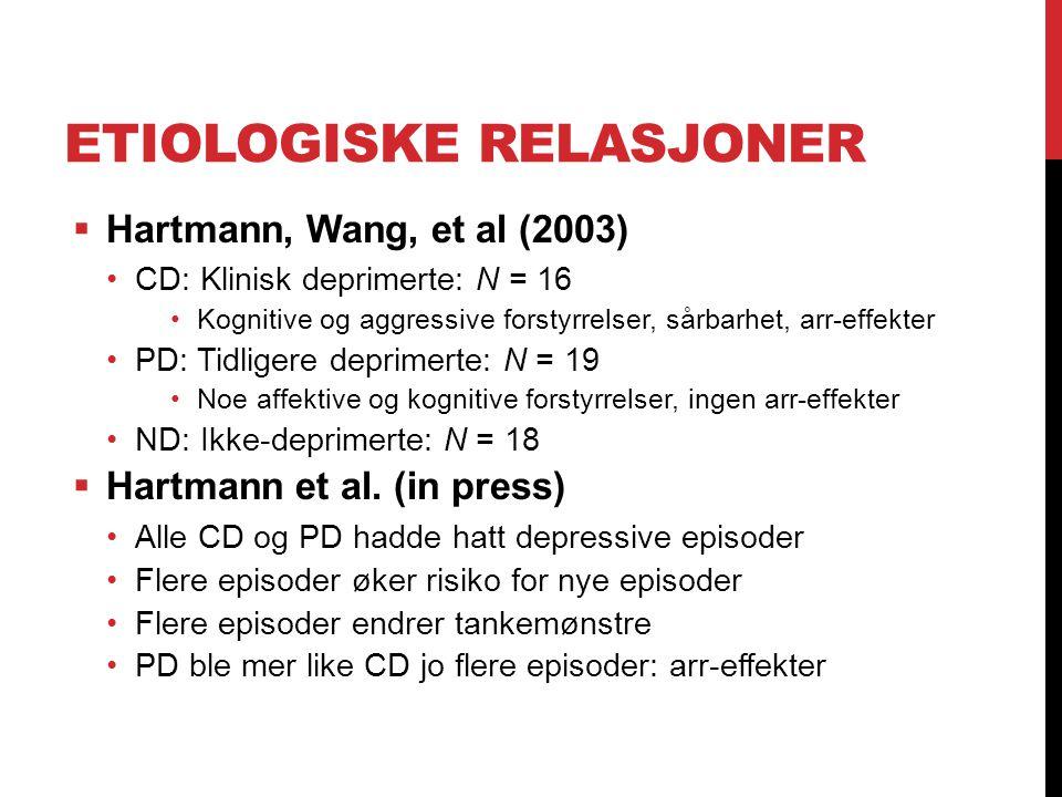 ETIOLOGISKE RELASJONER  Hartmann, Wang, et al (2003) CD: Klinisk deprimerte: N = 16 Kognitive og aggressive forstyrrelser, sårbarhet, arr-effekter PD