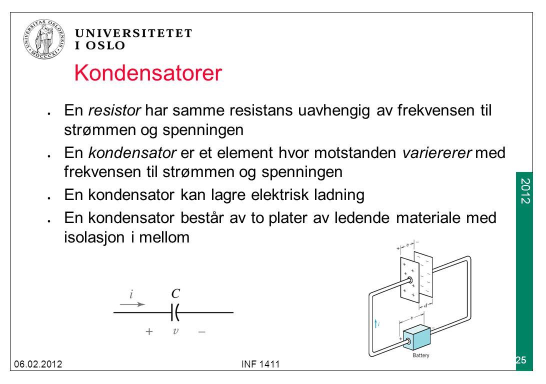 2012 Kondensatorer En resistor har samme resistans uavhengig av frekvensen til strømmen og spenningen En kondensator er et element hvor motstanden var