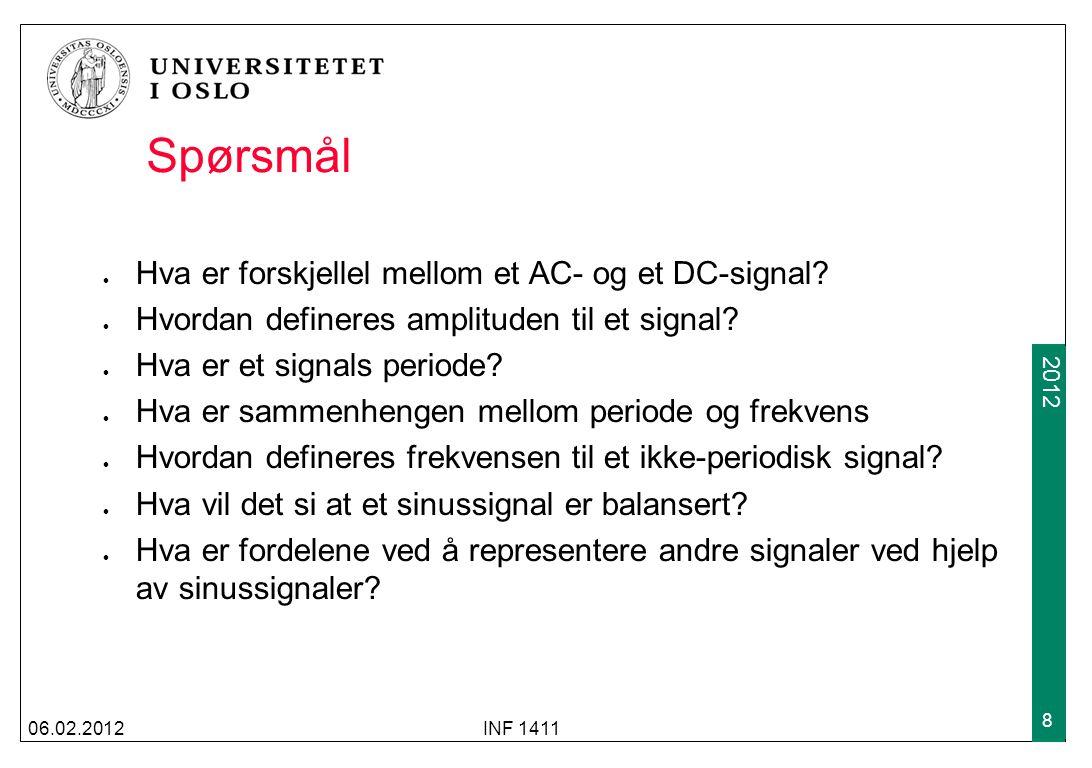 2012 Spørsmål Hva er forskjellel mellom et AC- og et DC-signal? Hvordan defineres amplituden til et signal? Hva er et signals periode? Hva er sammenhe
