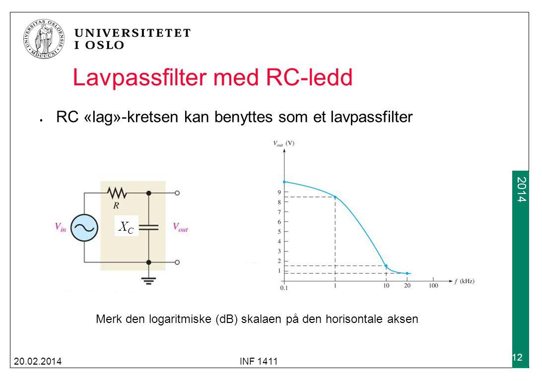 2009 2014 Lavpassfilter med RC-ledd RC «lag»-kretsen kan benyttes som et lavpassfilter 20.02.2014INF 1411 12 Merk den logaritmiske (dB) skalaen på den
