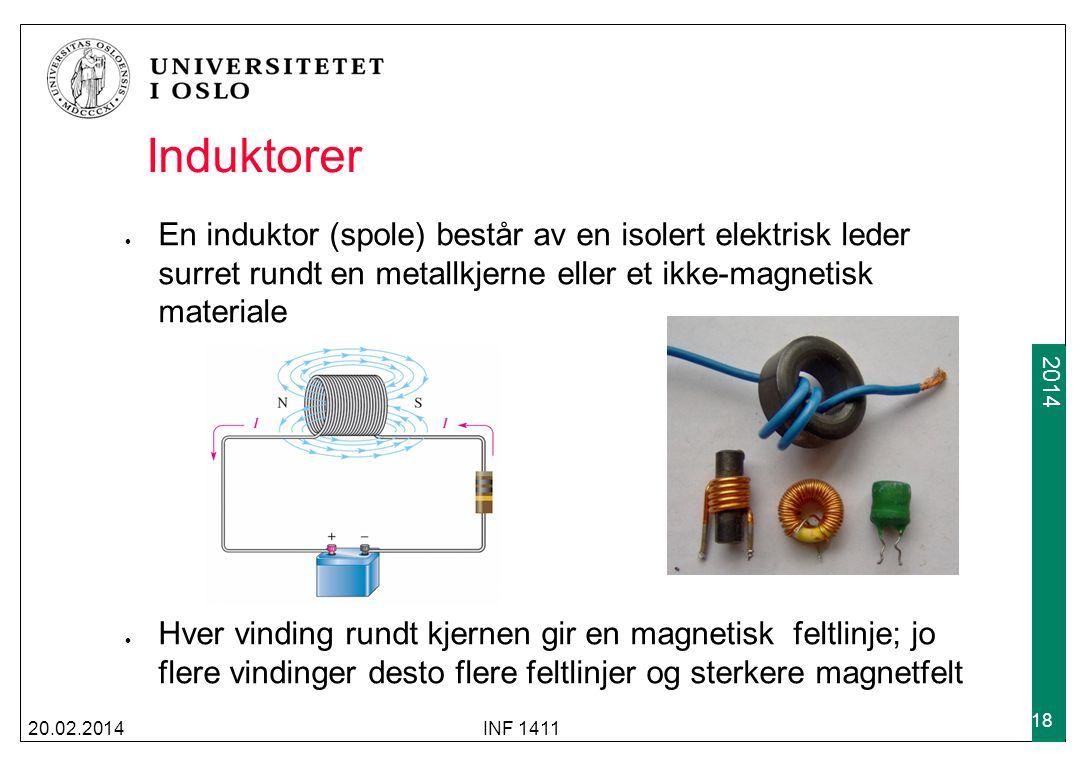 2009 2014 Induktorer 20.02.2014INF 1411 18 En induktor (spole) består av en isolert elektrisk leder surret rundt en metallkjerne eller et ikke-magneti