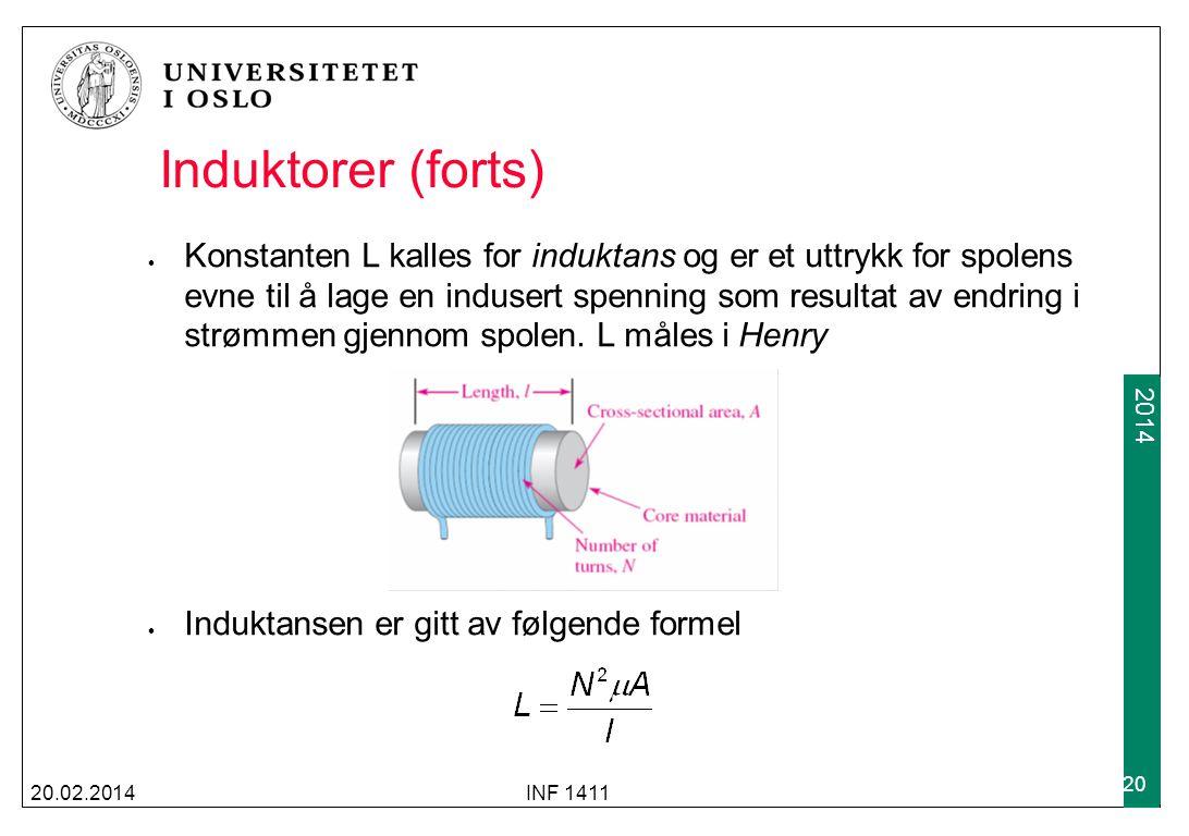 2009 2014 Induktorer (forts) 20.02.2014INF 1411 20 Konstanten L kalles for induktans og er et uttrykk for spolens evne til å lage en indusert spenning