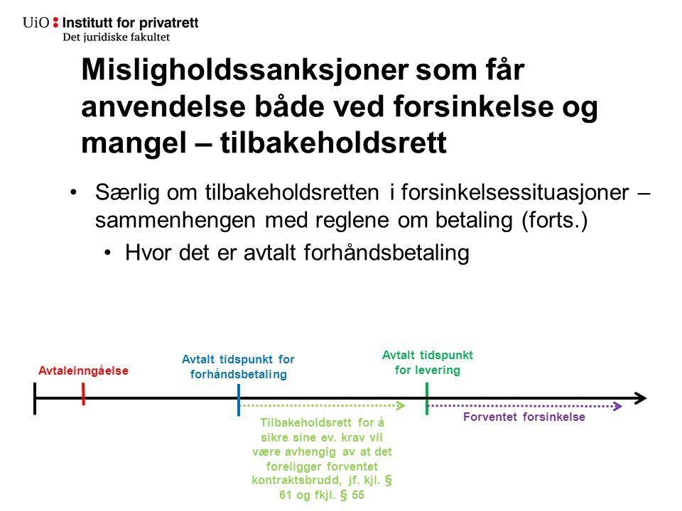 Særlig om tilbakeholdsretten i forsinkelsessituasjoner – sammenhengen med reglene om betaling (forts.) Hvor det er avtalt forhåndsbetaling Misligholds