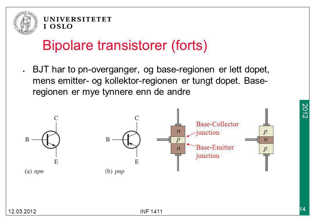 2009 2012 Bipolare transistorer (forts) BJT har to pn-overganger, og base-regionen er lett dopet, mens emitter- og kollektor-regionen er tungt dopet.