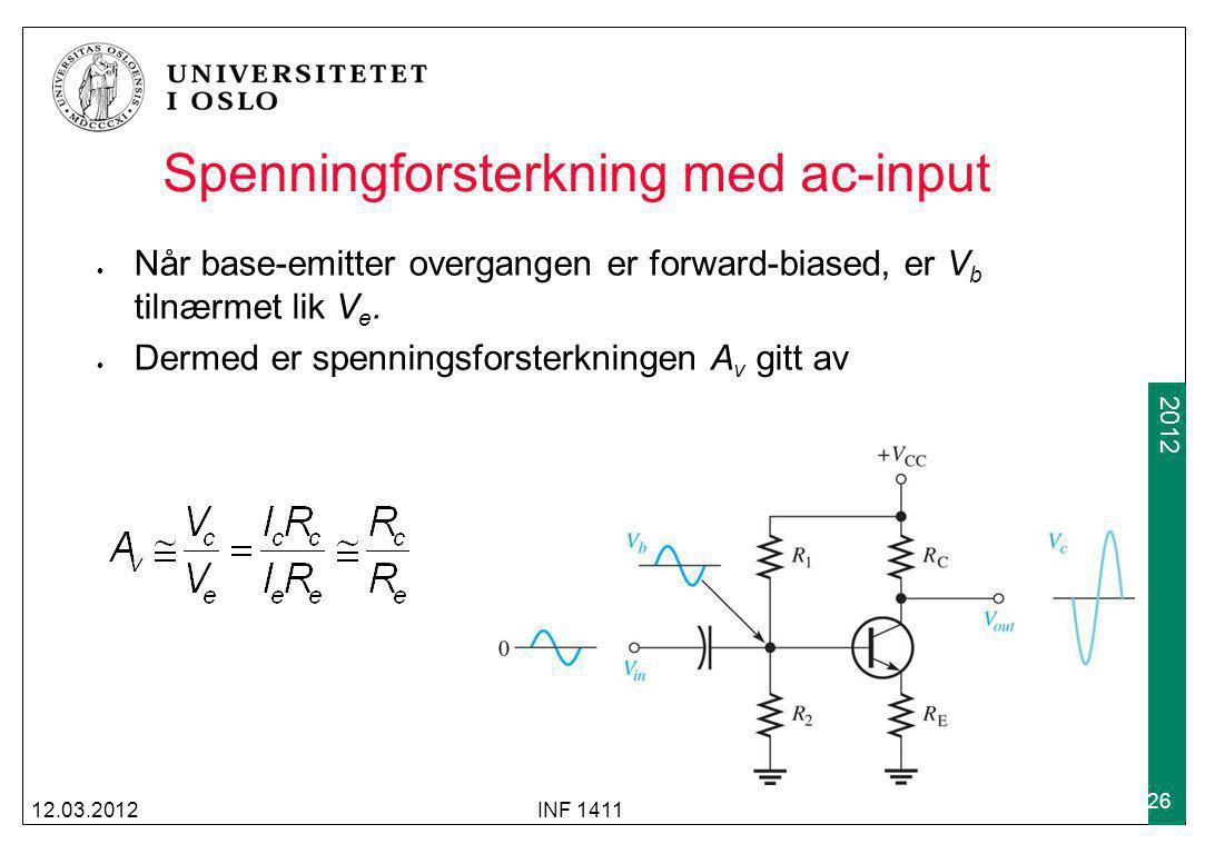 2009 2012 Spenningforsterkning med ac-input Når base-emitter overgangen er forward-biased, er V b tilnærmet lik V e. Dermed er spenningsforsterkningen