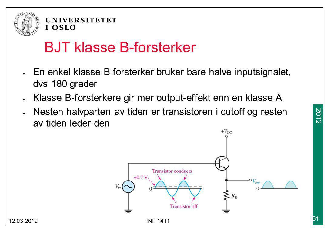 2009 2012 BJT klasse B-forsterker En enkel klasse B forsterker bruker bare halve inputsignalet, dvs 180 grader Klasse B-forsterkere gir mer output-eff