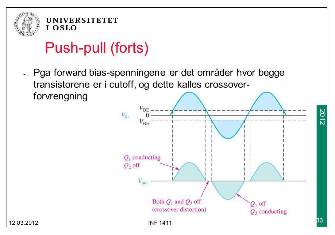2009 2012 Push-pull (forts) Pga forward bias-spenningene er det områder hvor begge transistorene er i cutoff, og dette kalles crossover- forvrengning