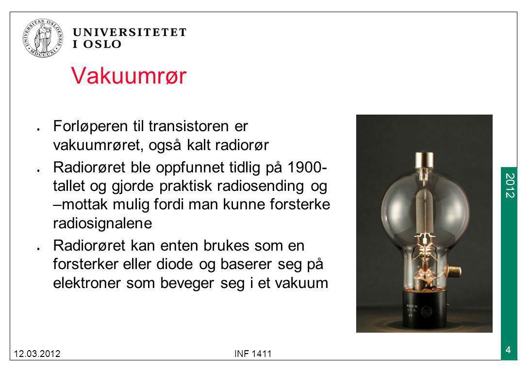 2009 2012 Vakuumrør Forløperen til transistoren er vakuumrøret, også kalt radiorør Radiorøret ble oppfunnet tidlig på 1900- tallet og gjorde praktisk
