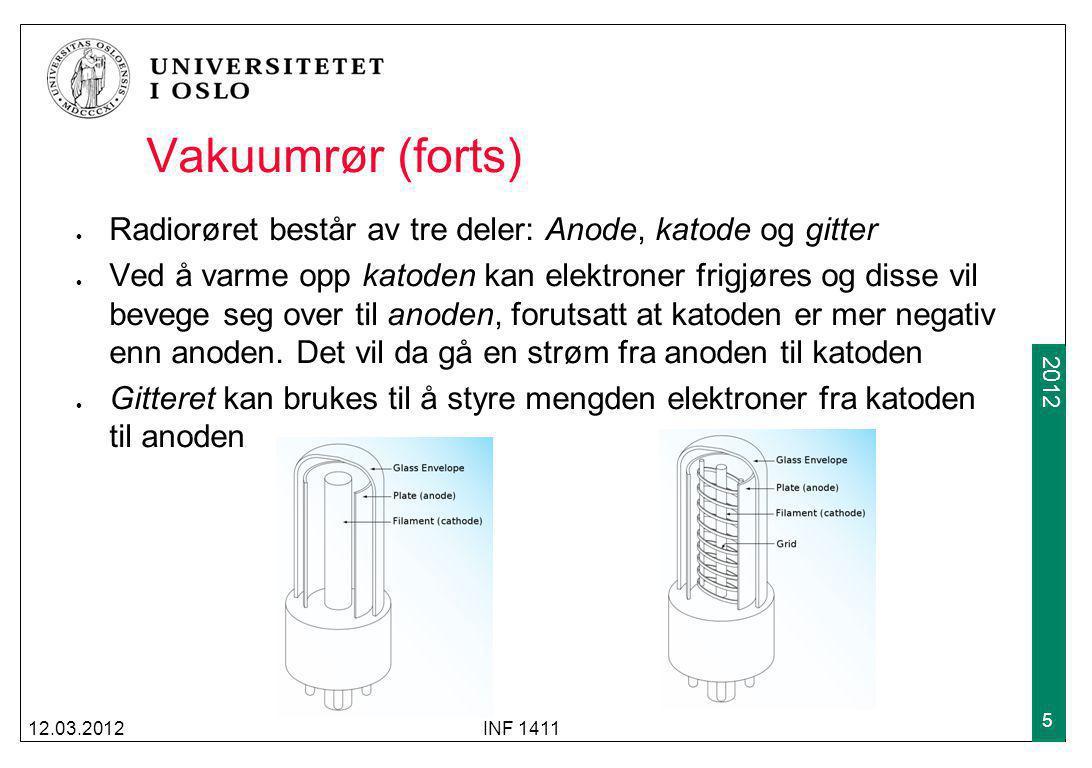 2009 2012 Vakuumrør (forts) Radiorøret består av tre deler: Anode, katode og gitter Ved å varme opp katoden kan elektroner frigjøres og disse vil beve