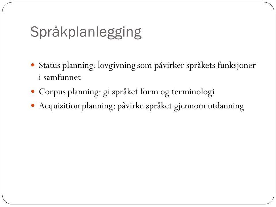 Språkplanlegging Status planning: lovgivning som påvirker språkets funksjoner i samfunnet Corpus planning: gi språket form og terminologi Acquisition planning: påvirke språket gjennom utdanning
