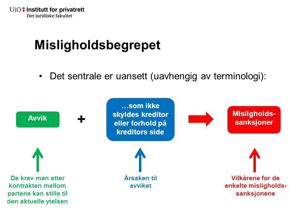 Misligholdsbegrepet Det sentrale er uansett (uavhengig av terminologi): + De krav man etter kontrakten mellom partene kan stille til den aktuelle ytel