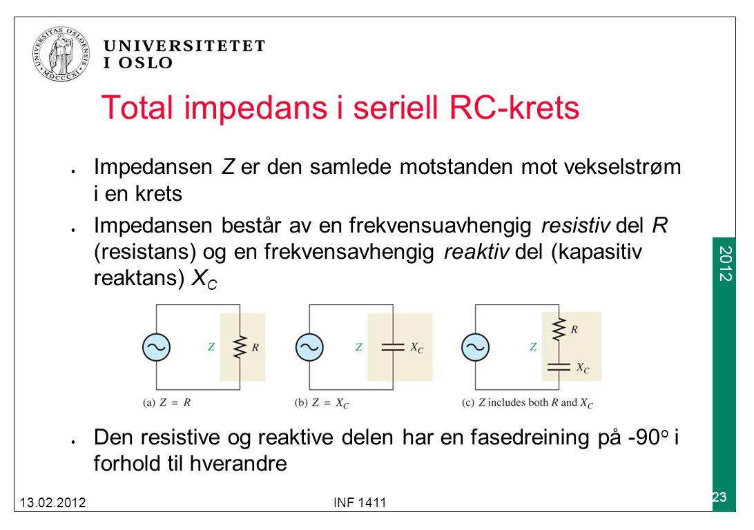 2012 Total impedans i seriell RC-krets Impedansen Z er den samlede motstanden mot vekselstrøm i en krets Impedansen består av en frekvensuavhengig res