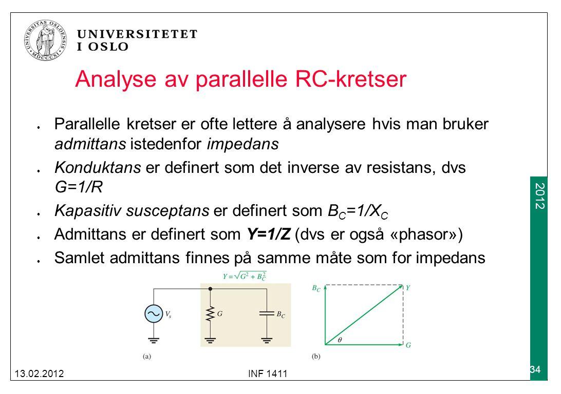 2012 Analyse av parallelle RC-kretser Parallelle kretser er ofte lettere å analysere hvis man bruker admittans istedenfor impedans Konduktans er defin