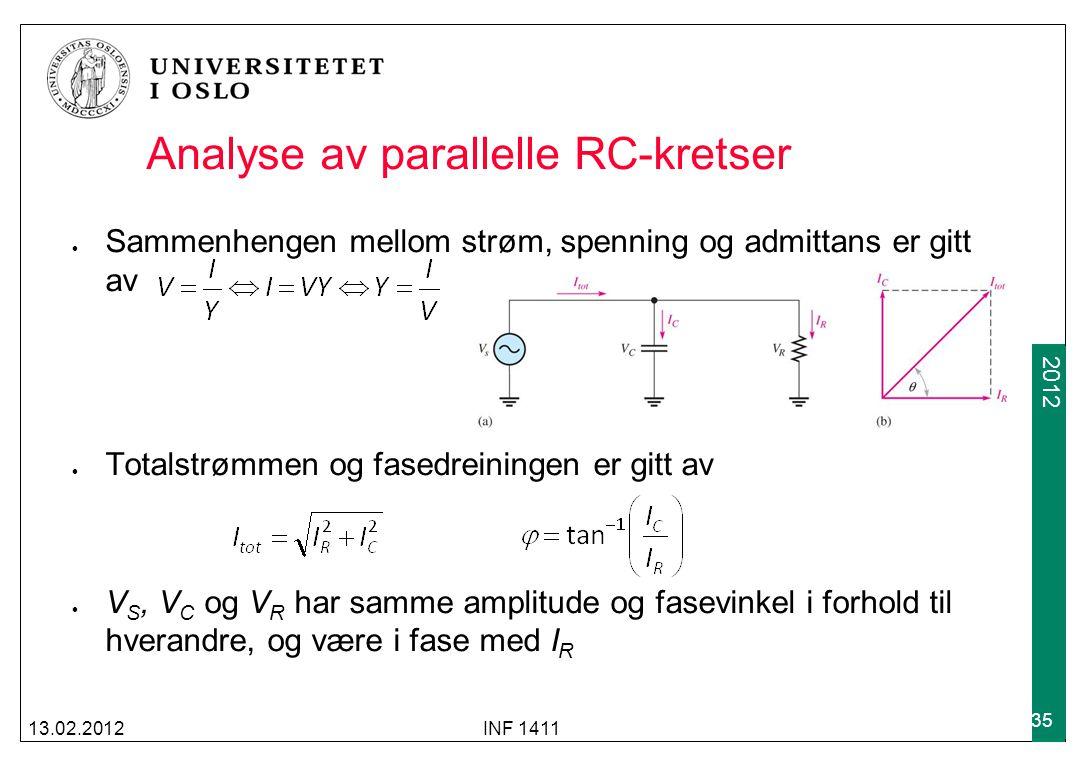 2012 Analyse av parallelle RC-kretser Sammenhengen mellom strøm, spenning og admittans er gitt av Totalstrømmen og fasedreiningen er gitt av V S, V C