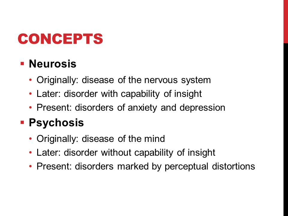 CONCEPTS  Neurosis Originally: disease of the nervous system Later: disorder with capability of insight Present: disorders of anxiety and depression  Psychosis Originally: disease of the mind Later: disorder without capability of insight Present: disorders marked by perceptual distortions