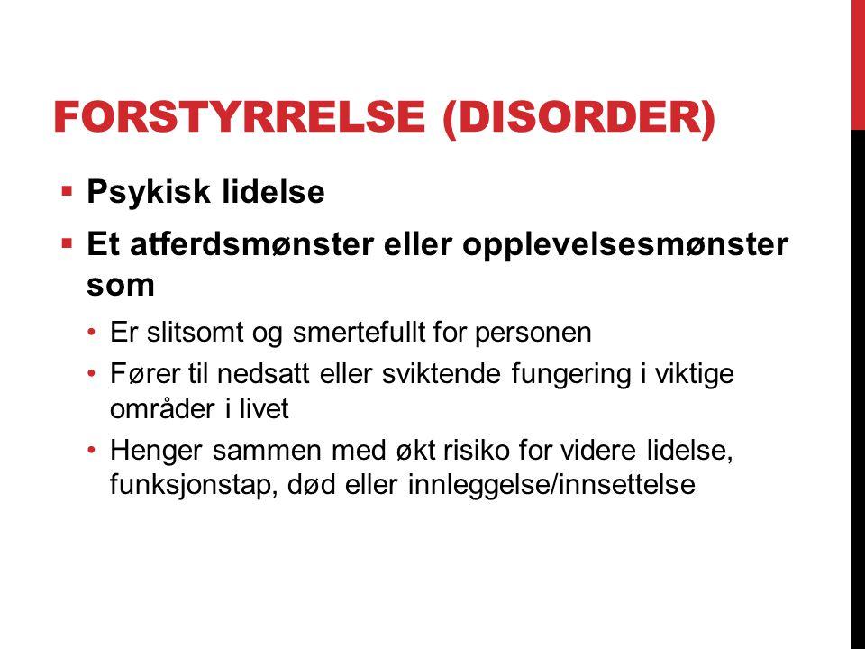 FORSTYRRELSE (DISORDER)  Psykisk lidelse  Et atferdsmønster eller opplevelsesmønster som Er slitsomt og smertefullt for personen Fører til nedsatt e