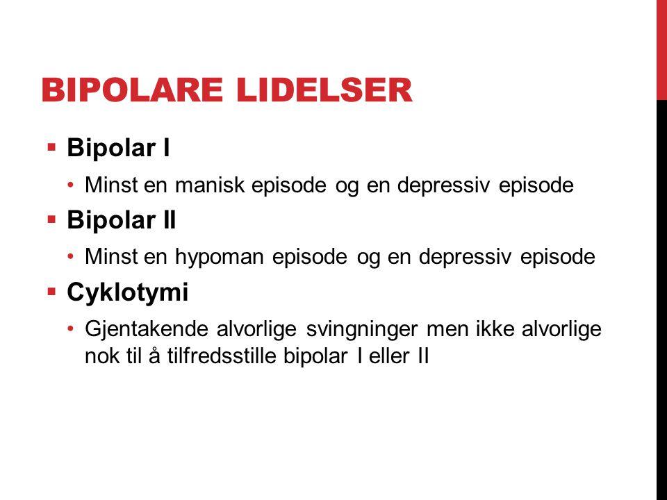 BIPOLARE LIDELSER  Bipolar I Minst en manisk episode og en depressiv episode  Bipolar II Minst en hypoman episode og en depressiv episode  Cyklotym