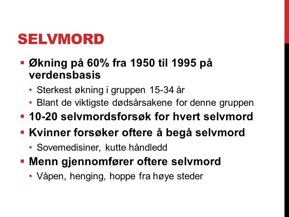 SELVMORD  Økning på 60% fra 1950 til 1995 på verdensbasis Sterkest økning i gruppen 15-34 år Blant de viktigste dødsårsakene for denne gruppen  10-2