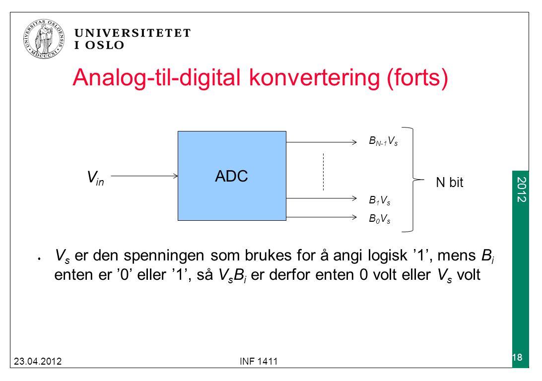 2009 2012 Analog-til-digital konvertering (forts) V s er den spenningen som brukes for å angi logisk '1', mens B i enten er '0' eller '1', så V s B i