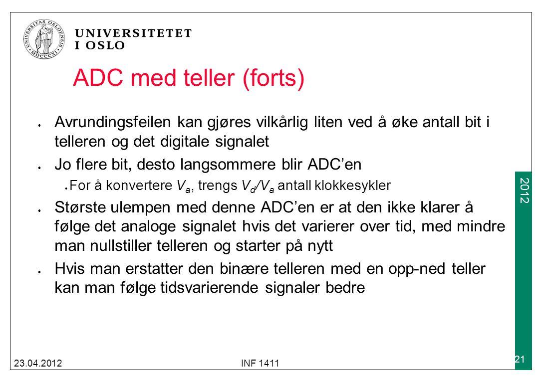 2009 2012 ADC med teller (forts) 23.04.2012INF 1411 21 Avrundingsfeilen kan gjøres vilkårlig liten ved å øke antall bit i telleren og det digitale sig