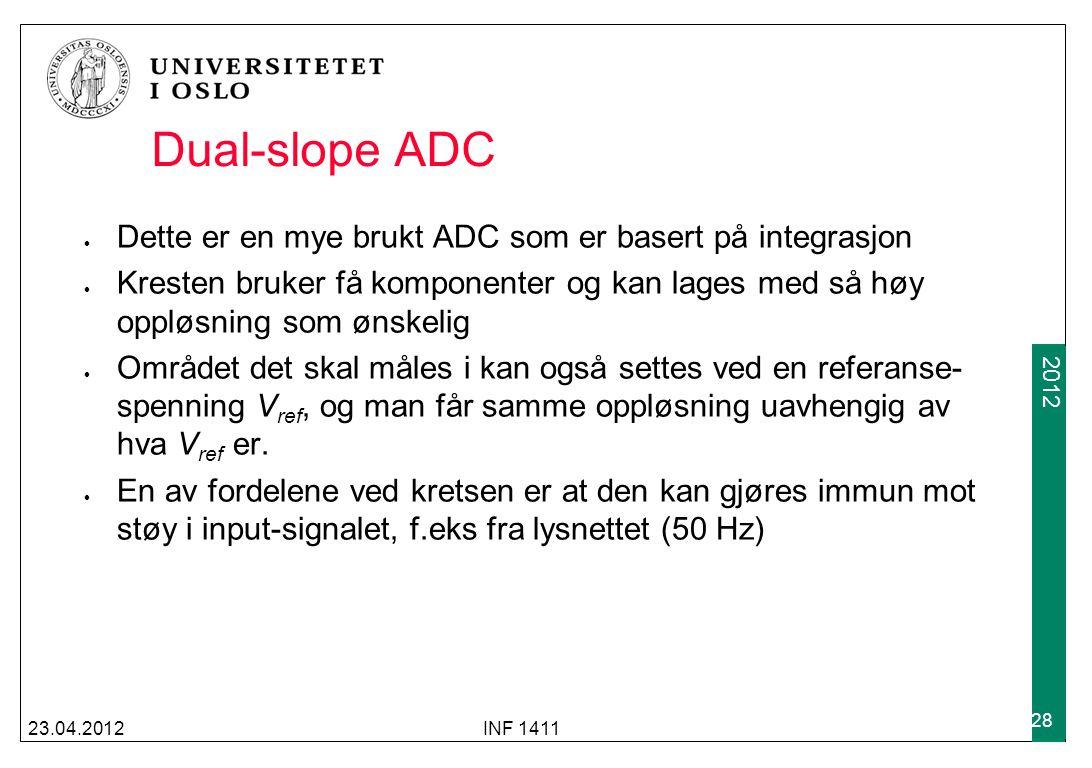2009 2012 Dual-slope ADC 23.04.2012INF 1411 28 Dette er en mye brukt ADC som er basert på integrasjon Kresten bruker få komponenter og kan lages med s