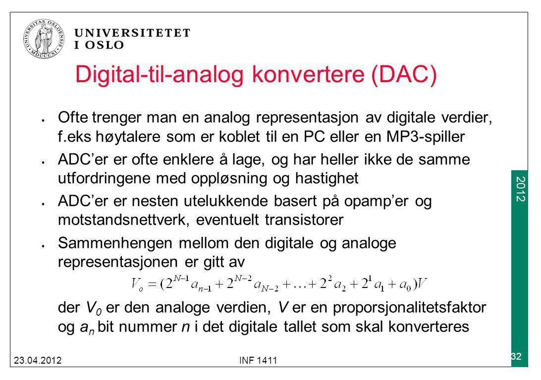 2009 2012 Digital-til-analog konvertere (DAC) 23.04.2012INF 1411 32 Ofte trenger man en analog representasjon av digitale verdier, f.eks høytalere som