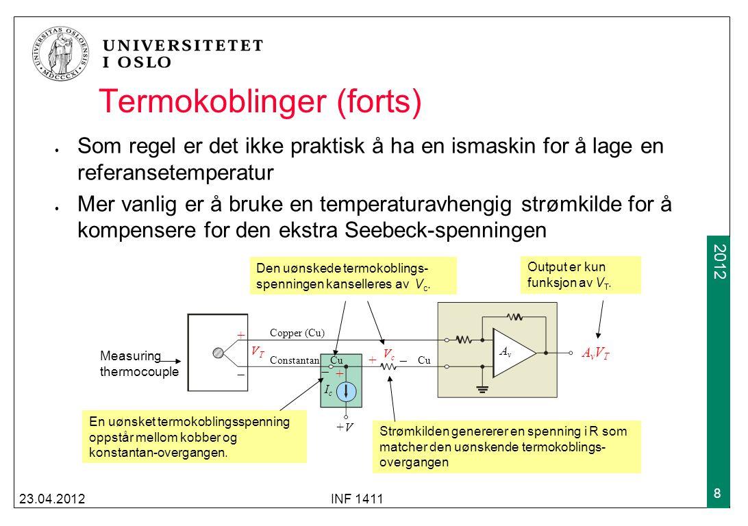 2009 2012 Termokoblinger (forts) Som regel er det ikke praktisk å ha en ismaskin for å lage en referansetemperatur Mer vanlig er å bruke en temperatur