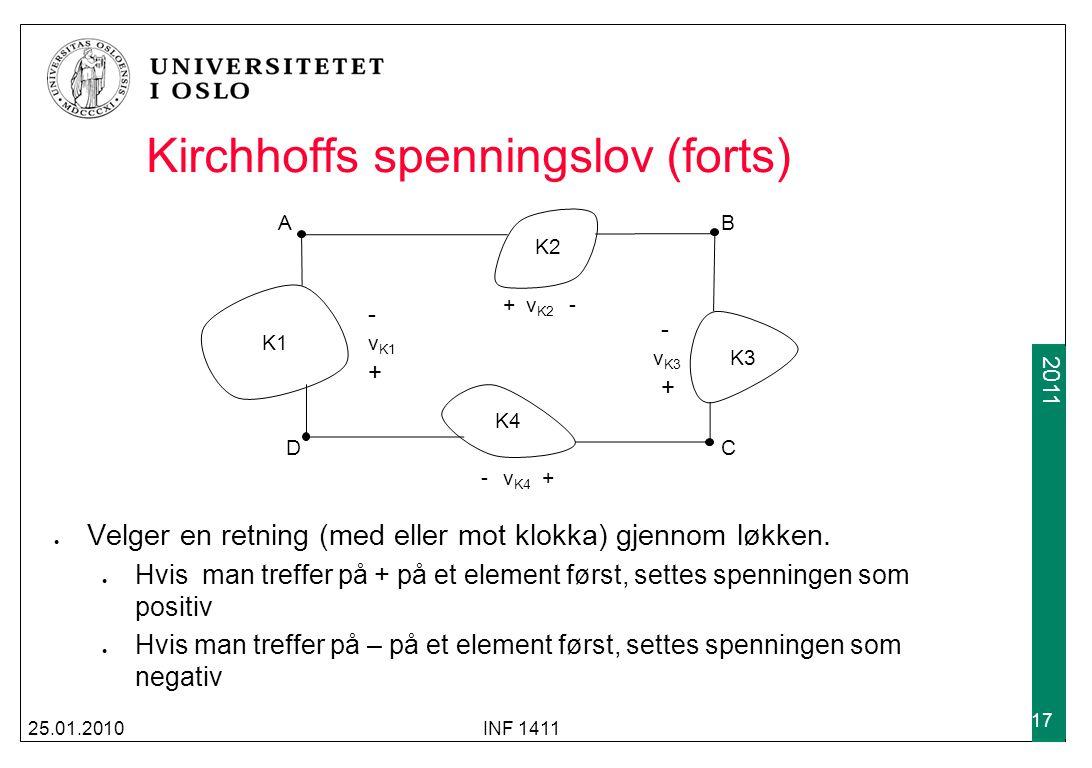 2009 2011 25.01.2010INF 1411 17 Kirchhoffs spenningslov (forts) K1 K2 K3 K4 AB DC v K1 v K2 v K3 v K4 -+-+ -+-+ + - - + Velger en retning (med eller m