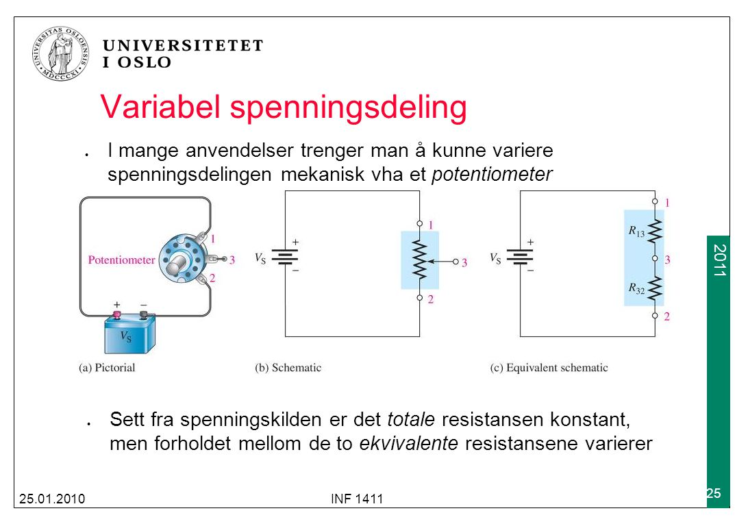 2009 2011 Variabel spenningsdeling I mange anvendelser trenger man å kunne variere spenningsdelingen mekanisk vha et potentiometer 25.01.2010INF 1411