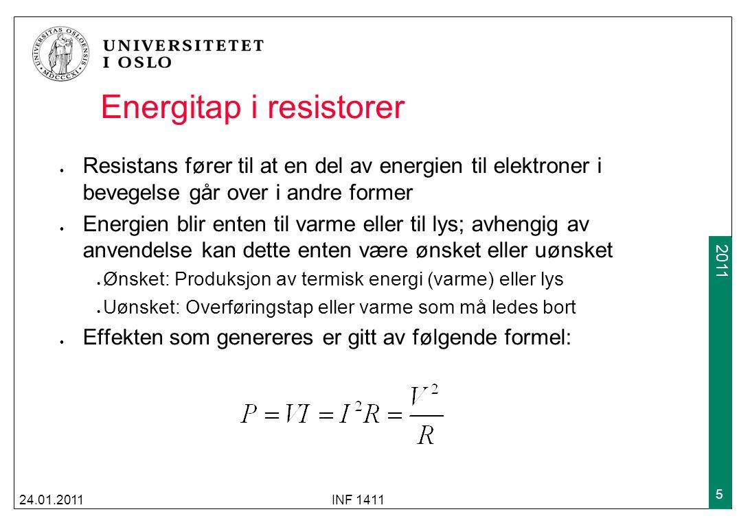 2009 2011 Den algebraiske summen av spenningene rundt enhver lukket sti er lik 0 25.01.2010INF 1411 16 Kirchhoffs spenningslov (forts) K1 K2 K3 K4 AB DC v K1 v K2 v K3 v K4 -+-+ -+-+ + - - + Med andre ord: Energien som kreves for å flytte en ladning mellom to noder er uavhengig av hvilken vei som velges gjennom kretsen Kan være enten være spenningskilde eller resistor