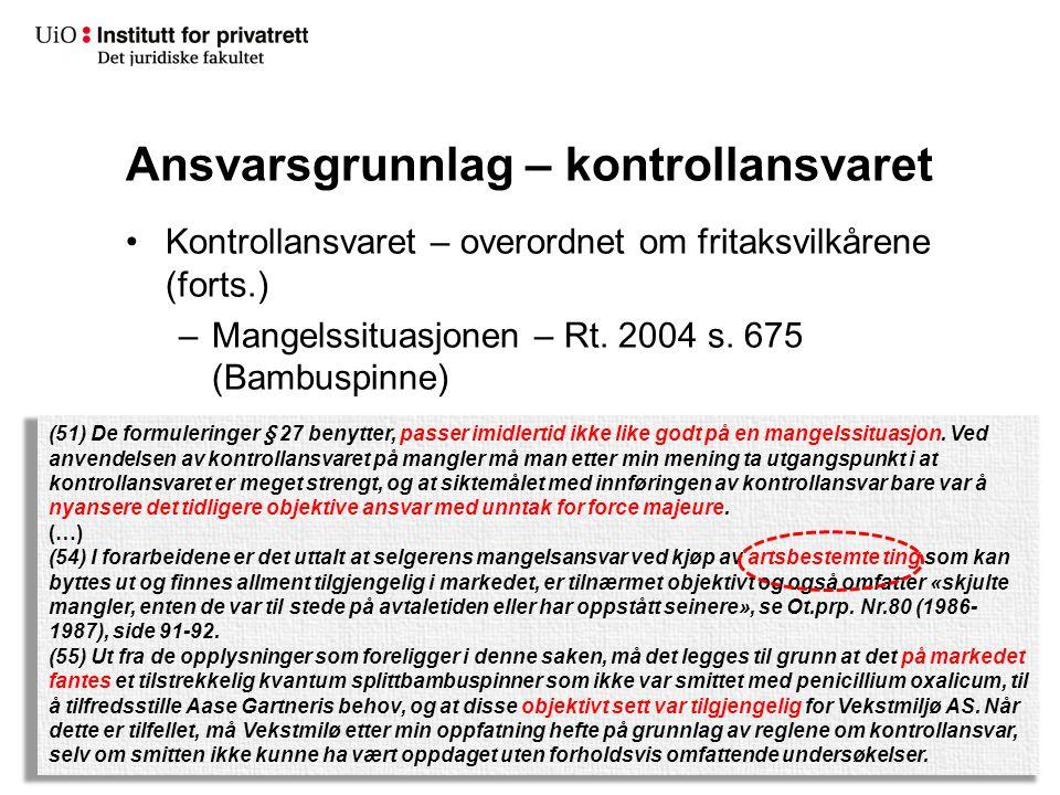 Ansvarsgrunnlag – kontrollansvaret Kontrollansvaret – overordnet om fritaksvilkårene (forts.) –Mangelssituasjonen – Rt. 2004 s. 675 (Bambuspinne) (51)
