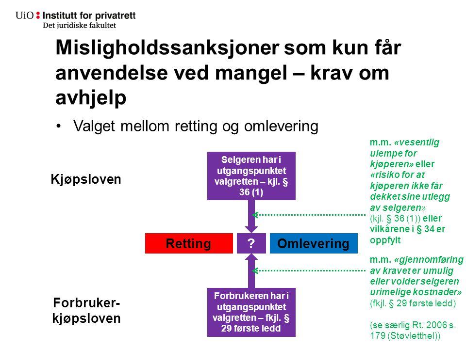 Misligholdssanksjoner som kun får anvendelse ved mangel – krav om avhjelp Valget mellom retting og omlevering RettingOmlevering Kjøpsloven Forbruker-