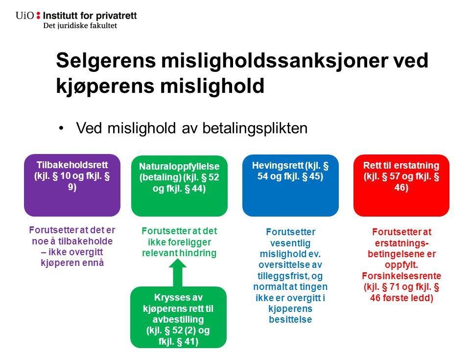 Selgerens misligholdssanksjoner ved kjøperens mislighold Ved mislighold av betalingsplikten Tilbakeholdsrett (kjl. § 10 og fkjl. § 9) Forutsetter at d