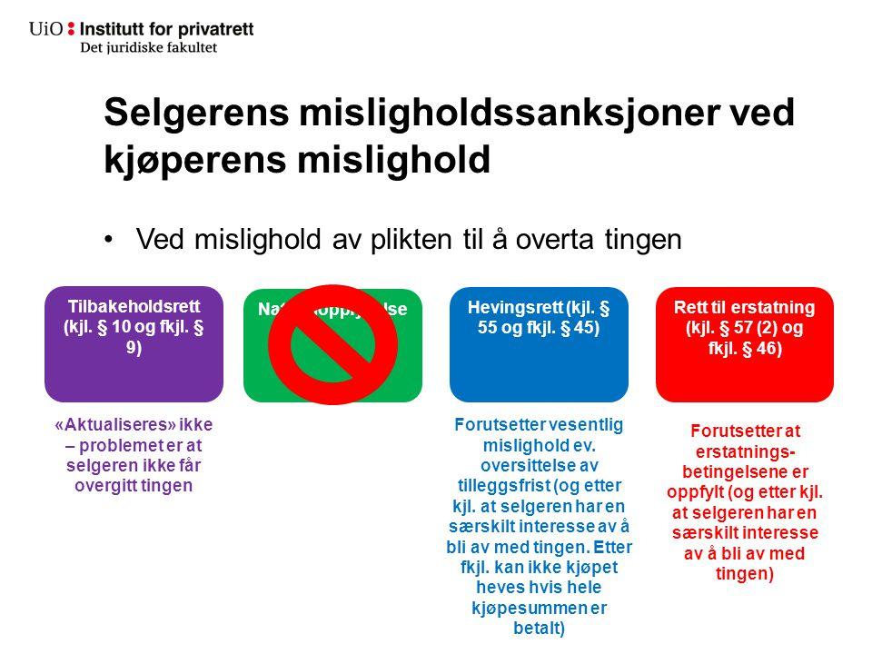 Selgerens misligholdssanksjoner ved kjøperens mislighold Ved mislighold av plikten til å overta tingen Naturaloppfyllelse Hevingsrett (kjl. § 55 og fk
