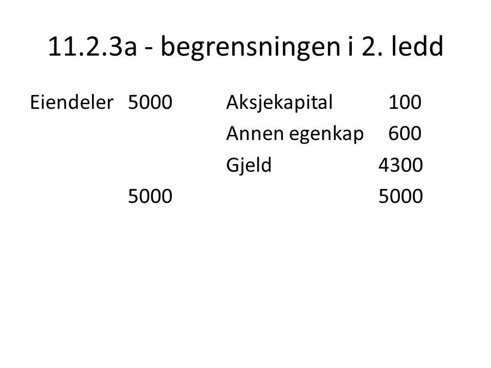 11.2.3a - begrensningen i 2. ledd Eiendeler 5000 Aksjekapital 100 Annen egenkap 600 Gjeld 4300 5000