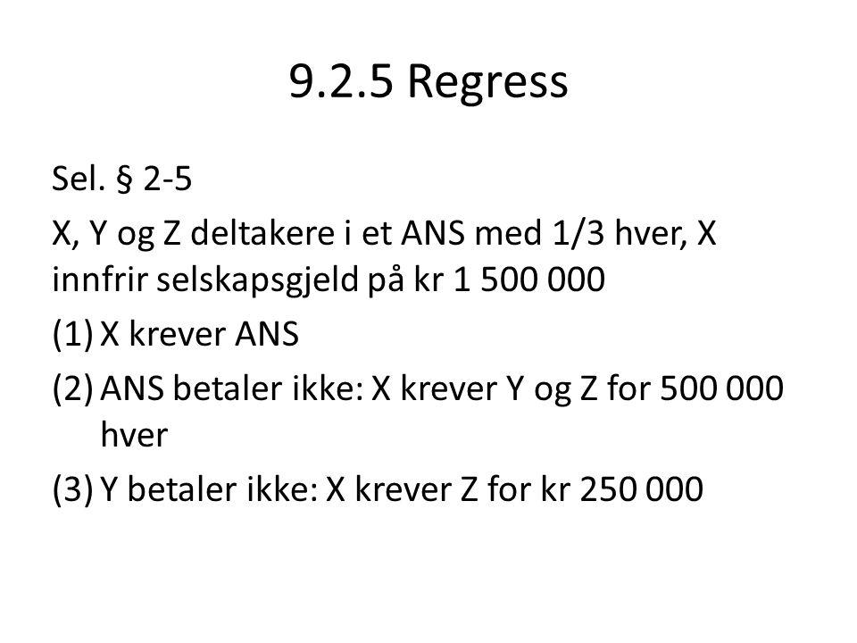 9.2.5 Regress Sel. § 2-5 X, Y og Z deltakere i et ANS med 1/3 hver, X innfrir selskapsgjeld på kr 1 500 000 (1)X krever ANS (2)ANS betaler ikke: X kre