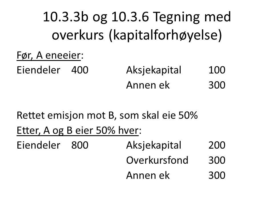 10.3.3b og 10.3.6 Tegning med overkurs (kapitalforhøyelse) Før, A eneeier: Eiendeler 400Aksjekapital100 Annen ek300 Rettet emisjon mot B, som skal eie