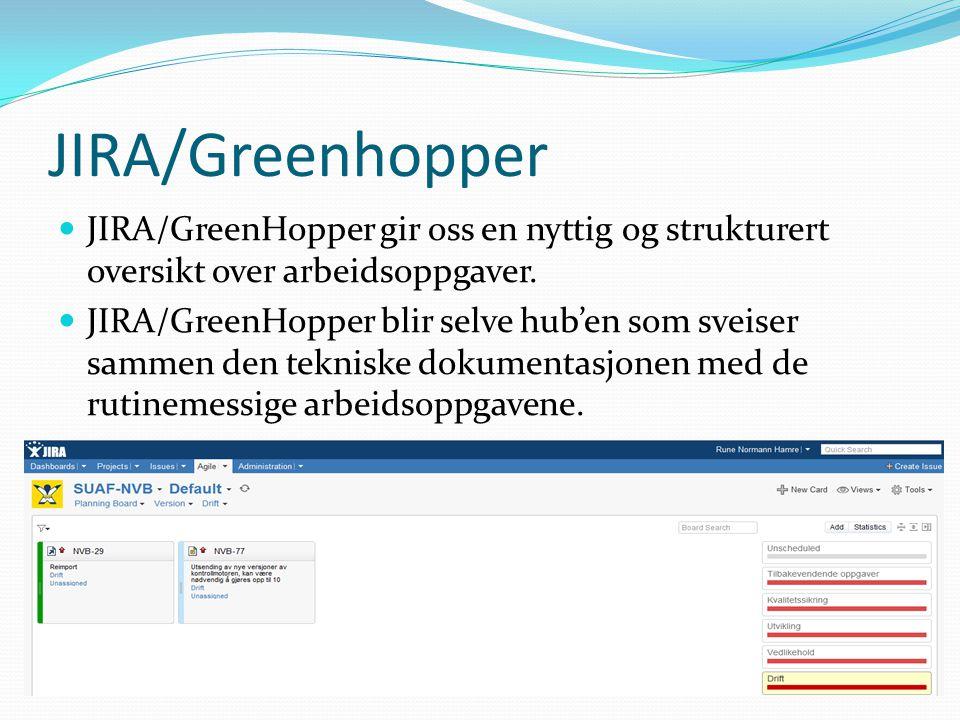 JIRA/Greenhopper JIRA/GreenHopper gir oss en nyttig og strukturert oversikt over arbeidsoppgaver.