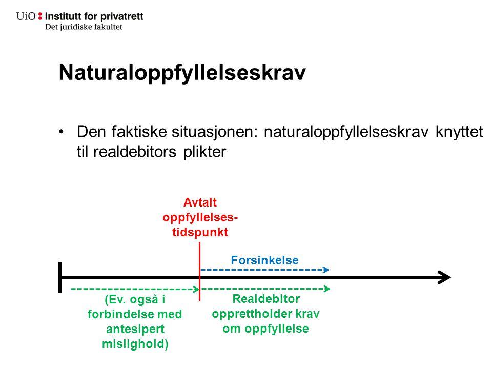 Naturaloppfyllelseskrav Den faktiske situasjonen: naturaloppfyllelseskrav knyttet til realdebitors plikter Avtalt oppfyllelses- tidspunkt Forsinkelse