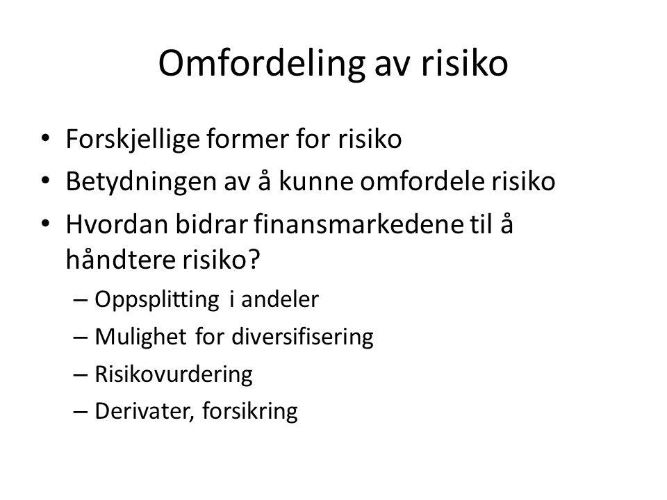 Viktige aktører Oslo Børs Andre regulerte markeder infrastrukturforetak (FishPool, Nasdaq) VPS Clearing Utstedere Investorer Verdipapirforetak Multilateral handelsfasilitet Verdipapirfond