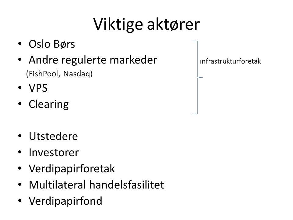 Viktige aktører Oslo Børs Andre regulerte markeder infrastrukturforetak (FishPool, Nasdaq) VPS Clearing Utstedere Investorer Verdipapirforetak Multila