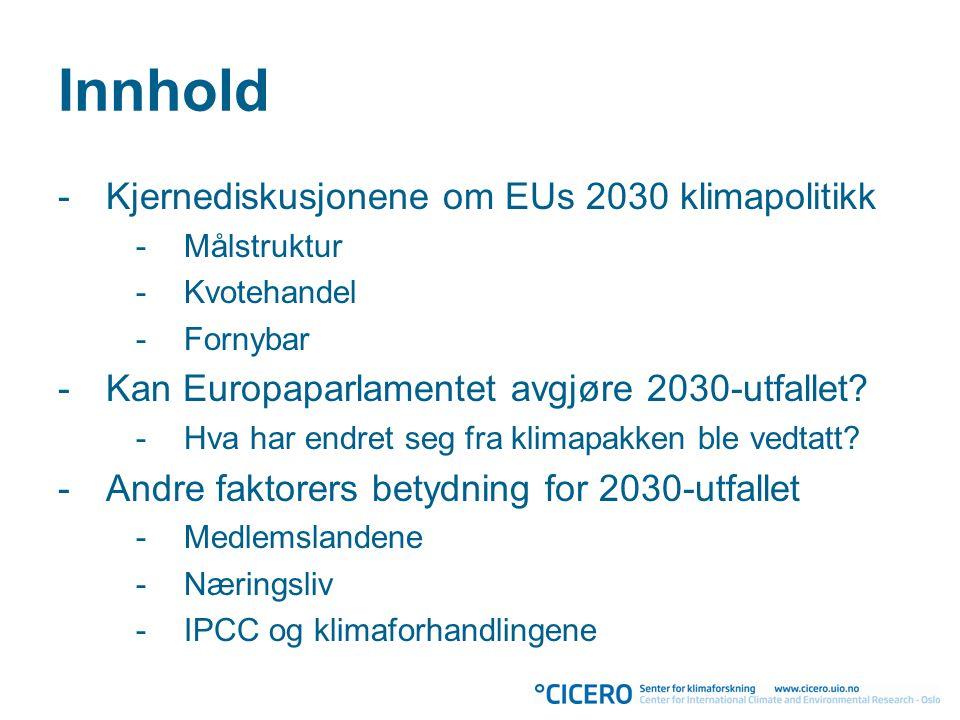 Innhold -Kjernediskusjonene om EUs 2030 klimapolitikk -Målstruktur -Kvotehandel -Fornybar -Kan Europaparlamentet avgjøre 2030-utfallet.