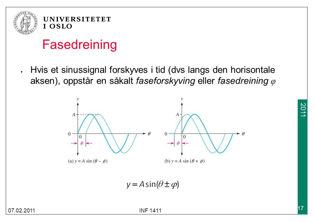 2009 2011 Fasedreining Hvis et sinussignal forskyves i tid (dvs langs den horisontale aksen), oppstår en såkalt faseforskyving eller fasedreining φ 07.02.2011INF 1411 17