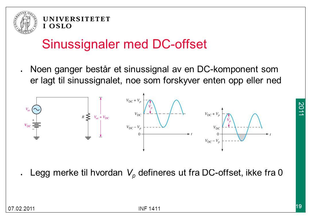 2009 2011 Sinussignaler med DC-offset Noen ganger består et sinussignal av en DC-komponent som er lagt til sinussignalet, noe som forskyver enten opp eller ned Legg merke til hvordan V p defineres ut fra DC-offset, ikke fra 0 07.02.2011INF 1411 19