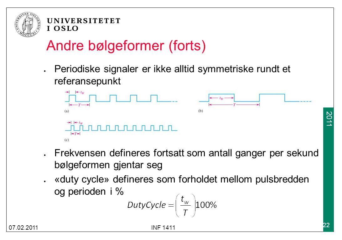 2009 2011 Andre bølgeformer (forts) Periodiske signaler er ikke alltid symmetriske rundt et referansepunkt Frekvensen defineres fortsatt som antall ganger per sekund bølgeformen gjentar seg «duty cycle» defineres som forholdet mellom pulsbredden og perioden i % 07.02.2011INF 1411 22