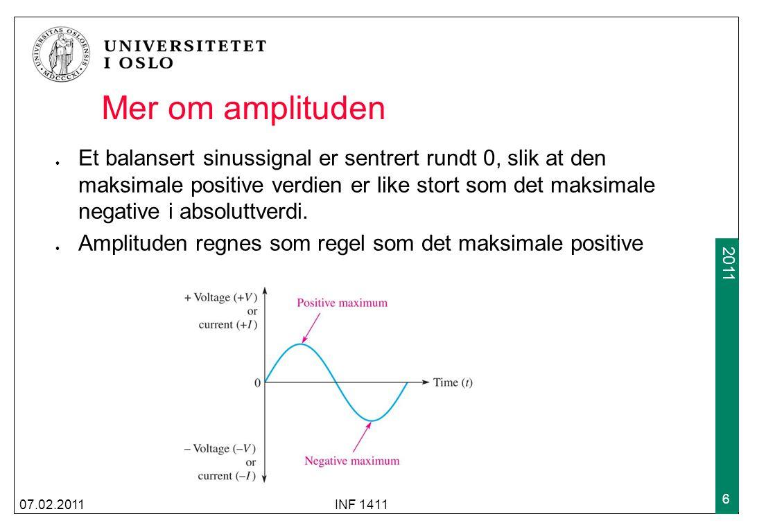 2009 2011 Mer om amplituden Et balansert sinussignal er sentrert rundt 0, slik at den maksimale positive verdien er like stort som det maksimale negative i absoluttverdi.