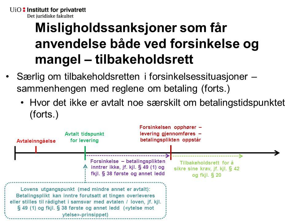 Særlig om tilbakeholdsretten i forsinkelsessituasjoner – sammenhengen med reglene om betaling (forts.) Hvor det ikke er avtalt noe særskilt om betalin