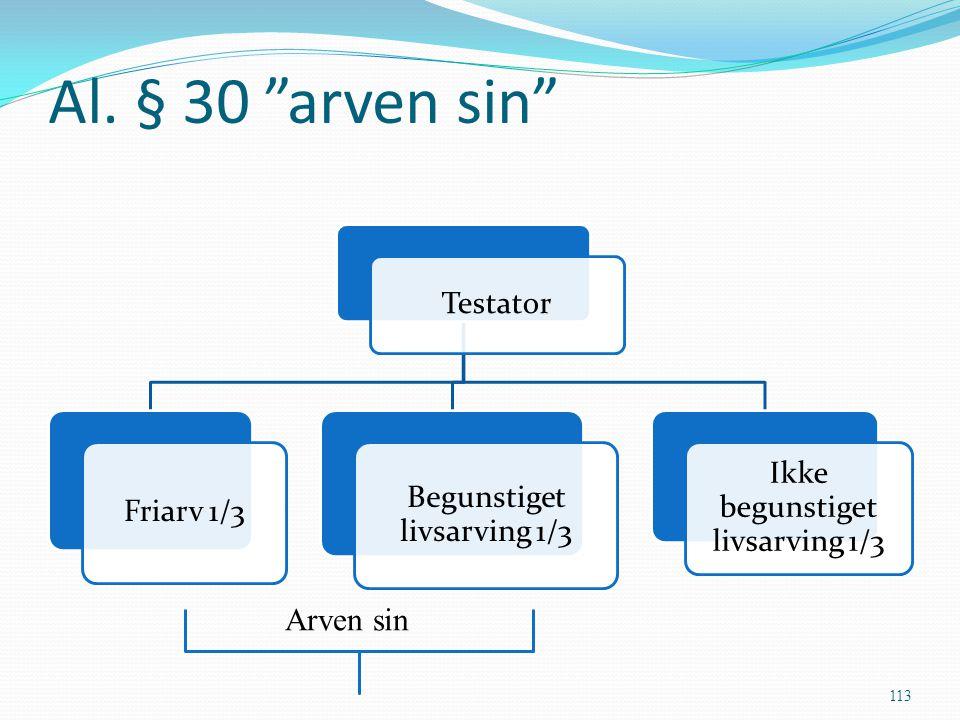 """Al. § 30 """"arven sin"""" Testator Friarv 1/3 Begunstiget livsarving 1/3 Ikke begunstiget livsarving 1/3 113 Arven sin"""