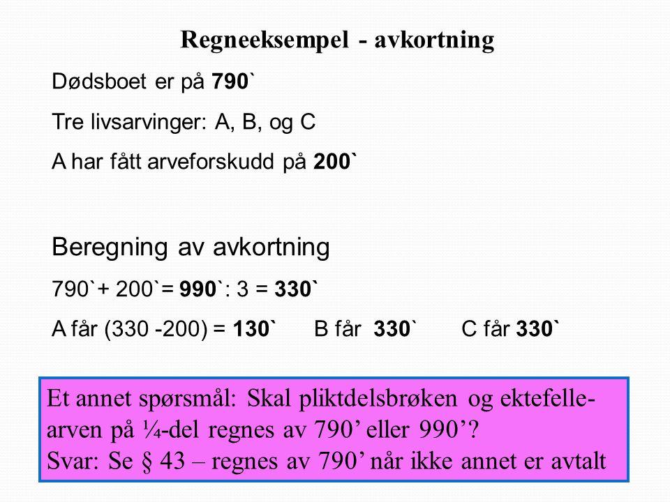 Regneeksempel - avkortning Dødsboet er på 790` Tre livsarvinger: A, B, og C A har fått arveforskudd på 200` Beregning av avkortning 790`+ 200`= 990`: